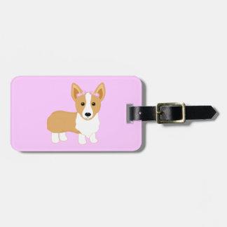 Etiqueta De Bagagem Cão da menina do Corgi com arcos cor-de-rosa