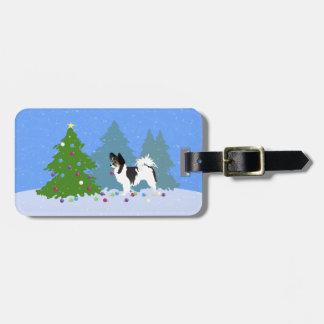 Etiqueta De Bagagem Cão de Papillon que decora a árvore de Natal na