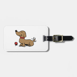 Etiqueta De Bagagem Cão feliz que quer jogar