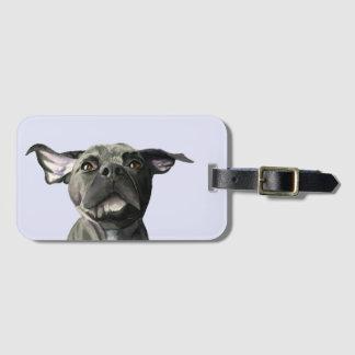 Etiqueta De Bagagem Cão preto do pitbull com a aguarela Wiggly das