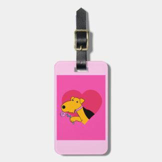 Etiqueta De Bagagem Cão w de Airedale Terrier cor-de-rosa & Tag da