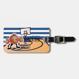 Etiqueta De Bagagem Caráter bonito parvo do esporte do basquetebol