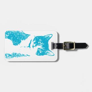 Etiqueta De Bagagem Carreg o gato no Tag azul da bagagem