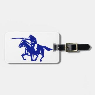 Etiqueta De Bagagem Carregamento americano da cavalaria retro