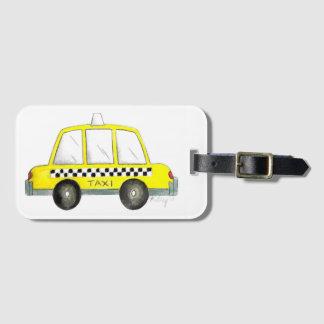 Etiqueta De Bagagem Carro Checkered do táxi da Nova Iorque amarela do