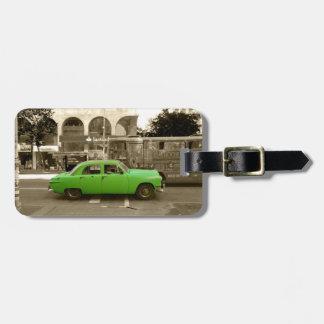 Etiqueta De Bagagem Carro verde velho uruguaio