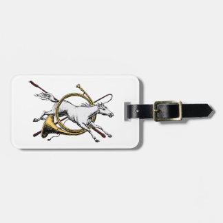 Etiqueta De Bagagem Cavalo equestre formal que salta com a cor do