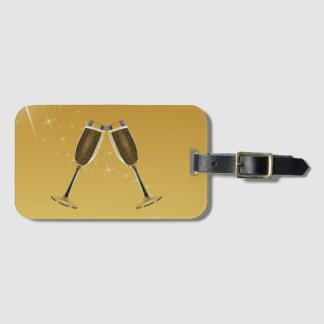 Etiqueta De Bagagem Celebração dos vidros de Champagne no ouro