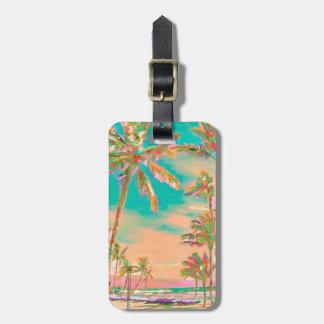 Etiqueta De Bagagem Cena havaiana/cerceta da praia do vintage de