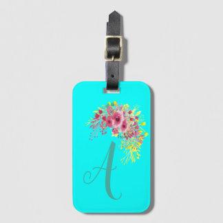 Etiqueta De Bagagem Cerceta do Aqua Monogrammed e floral azuis