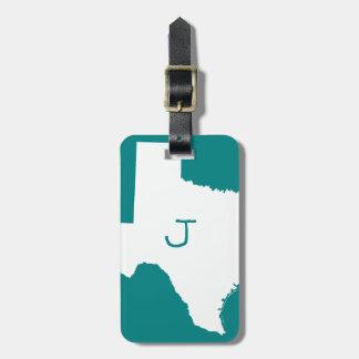 Etiqueta De Bagagem Cerceta Monogrammed e Texas branco