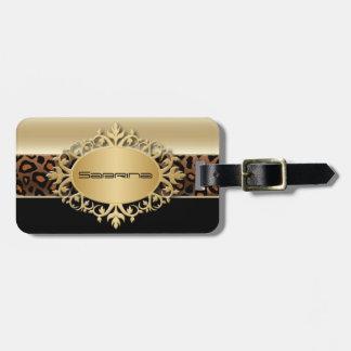 Etiqueta De Bagagem Champagne, preto e impressão animal do leopardo