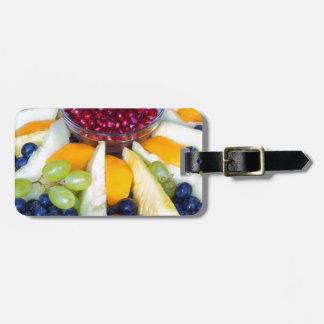 Etiqueta De Bagagem Cheio de vidro da escala de várias frutas frescas