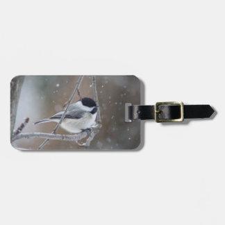 Etiqueta De Bagagem Chickadee Preto-tampado - aves canoras