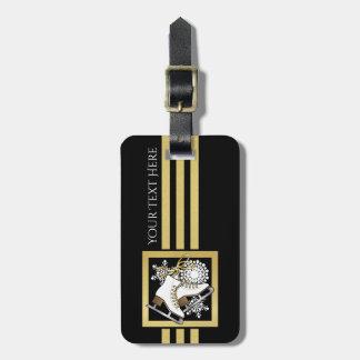 Etiqueta De Bagagem Chique moderno do ouro do falso do preto do