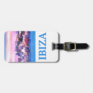 Etiqueta De Bagagem Cidade e porto velhos de Ibiza do poster retro
