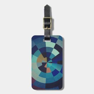 Etiqueta De Bagagem Círculos, arcos, e triângulos geométricos do azul