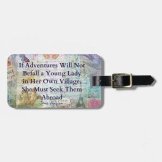 Etiqueta De Bagagem Citações da aventura do viagem de Jane Austen