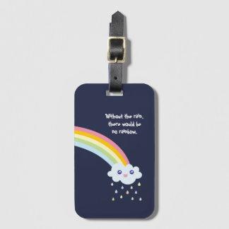 Etiqueta De Bagagem Citações inspiradas famosas do arco-íris bonito de
