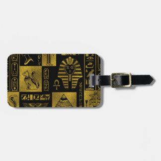 Etiqueta De Bagagem Colagem egípcia dos hieroglyphs e dos símbolos do