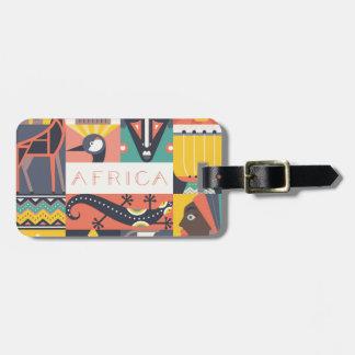 Etiqueta De Bagagem Colagem simbólica africana da arte