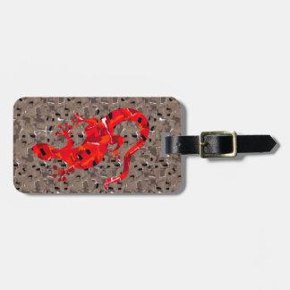 Etiqueta De Bagagem Colagem vermelha do lagarto