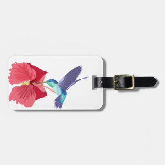 Etiqueta De Bagagem Colibri azul e verde e hibiscus vermelho