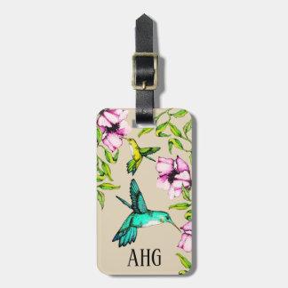 Etiqueta De Bagagem Colibris bonito da aguarela & flores roxas