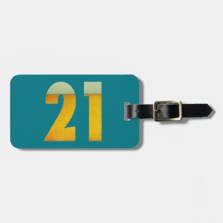 Etiqueta De Bagagem Comemore o aniversário de 21 anos