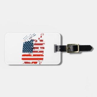 Etiqueta De Bagagem Como um americano. Bandeira do grunge dos EUA