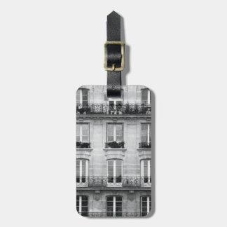 Etiqueta De Bagagem Construção preto e branco do vintage do viagem |