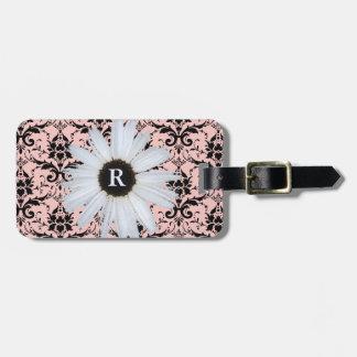 Etiqueta De Bagagem Cor damasco | elegante Monogrammed cor-de-rosa da