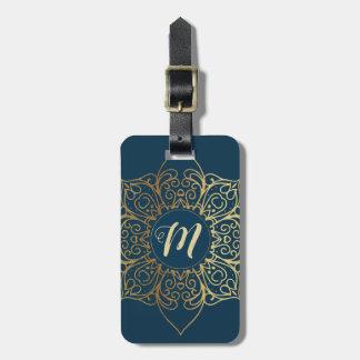 Etiqueta De Bagagem Cor damasco & monograma da mandala do ouro