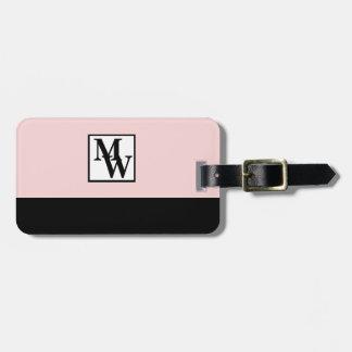 Etiqueta De Bagagem Cora chique cor-de-rosa e preto o monograma