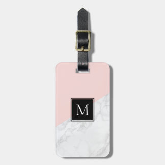 Etiqueta De Bagagem Cora o Tag de mármore | branco cor-de-rosa da
