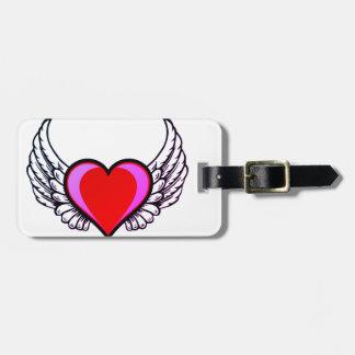 Etiqueta De Bagagem coração com asas