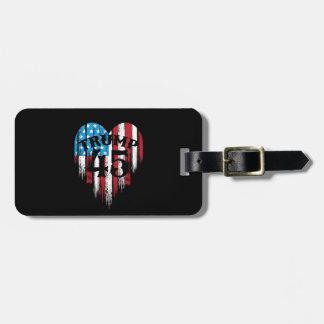 Etiqueta De Bagagem Coração da bandeira americana do trunfo