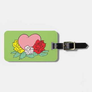 Etiqueta De Bagagem Coração e rosas