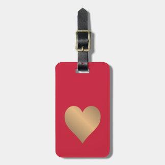 Etiqueta De Bagagem Coração vermelho simples legal do ouro do falso