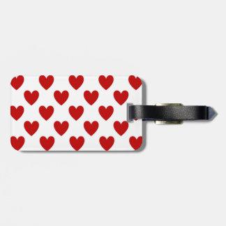 Etiqueta De Bagagem Corações vermelhos no branco, Tag do amor da