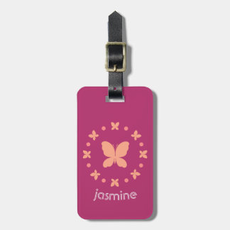 Etiqueta De Bagagem Coral claro feminino bonito, rosa, borboletas