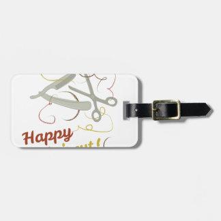 Etiqueta De Bagagem Corte de cabelo feliz