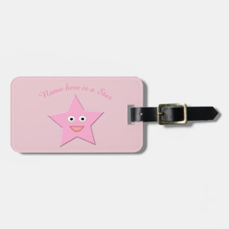 Etiqueta De Bagagem Costume cor-de-rosa bonito da estrela