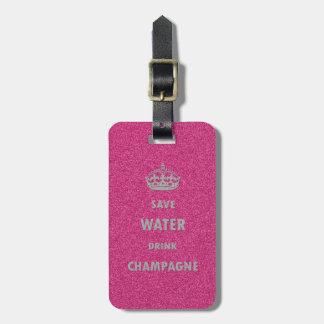 Etiqueta De Bagagem Cr feminino legal bonito do champanhe da bebida da