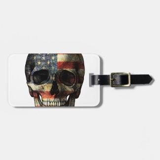 Etiqueta De Bagagem Crânio da bandeira americana