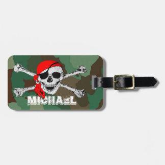 Etiqueta De Bagagem Crânio do pirata & Crossbones, Tag da bagagem da