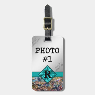 Etiqueta De Bagagem Cristais do arco-íris com monograma e suas fotos