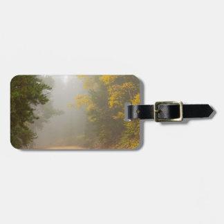Etiqueta De Bagagem Cruzamento na névoa do outono