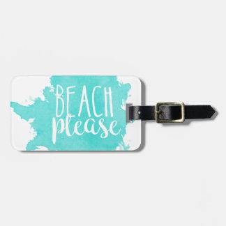 Etiqueta De Bagagem Da praia branco por favor