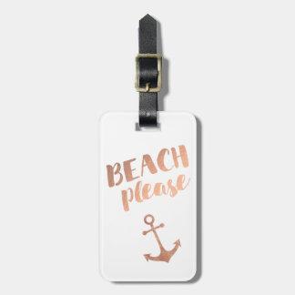 Etiqueta De Bagagem da praia caligrafia cor-de-rosa do ouro por favor